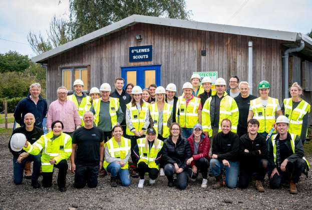 Savills and Reside Developments DIY challenge to restore damaged Lewes Scout hut